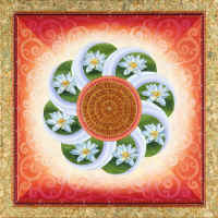 100 Good Fortune - White Lotuses Mandala